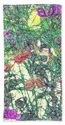 Digital Pencil Sketch Flowers Beach Towel