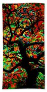 Digital Tree Impressionism Pixela Beach Towel