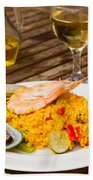 Dining With Paella Beach Towel