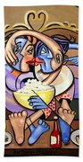 Dinner And A Movie Beach Towel by Anthony Falbo
