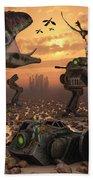 Dinosaurs And Robots Fight A War Beach Towel by Mark Stevenson