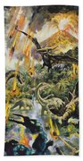 Dinosaurs And Volcanoes Beach Towel