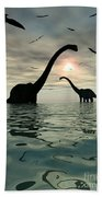 Diplodocus Dinosaurs Bathe In A Large Beach Towel
