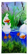 Dipping Duckies - Furry Forest Friends Mural Beach Towel