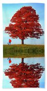 Discovering Autumn - Reflection Beach Towel