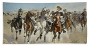 Dismounted The Fourth Troopers Moving The Led Horses Beach Towel