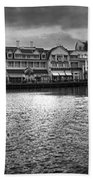 Disney World Boardwalk Gazebo Panorama Bw Beach Towel
