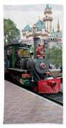 Disneyland Railroad Engine 3 With Castle Beach Towel