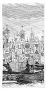 Disneyland Small World Panorama Pa Bw Beach Towel