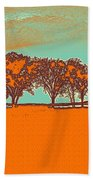 Distant Trees Under Milkyway Horizon By Adam Asar Beach Towel