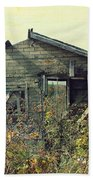 Distressed Honey House Door County Wisconsin Beach Towel