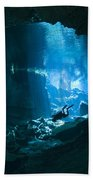 Diver Enters The Cavern System N Beach Towel
