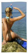 Diver On Guard. Beach Towel
