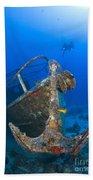 Divers Visit The Pelicano Shipwreck Beach Towel