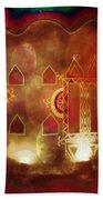 Diwali Card Lamps And Murals Blue City India Rajasthan 2h Beach Sheet