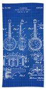Dixie Banjolele Patent 1954 In Blue Print Beach Towel