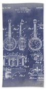 Dixie Banjolele Patent 1954 In Grunge Blue Beach Towel