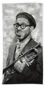 Dizzy Gillespie Vintage Jazz Musician Beach Sheet
