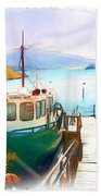 Do-00095 Boat Near Rotorua Beach Towel