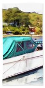 Do-00276 Green Boat In Killcare Beach Towel