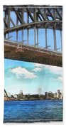 Do-00284 Sydney Harbour Bridge And Opera House Beach Towel