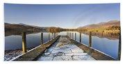 Dock In A Lake, Cumbria, England Beach Towel