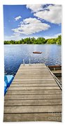 Dock On Lake In Summer Cottage Country Beach Towel by Elena Elisseeva