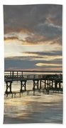 Dock Reflections Beach Towel