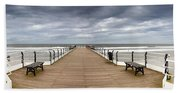 Dock With Benches, Saltburn, England Beach Sheet