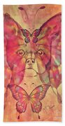 Dog And Butterfly Beach Towel