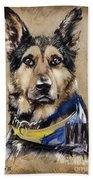 Dog Traditional Drawing Beach Towel