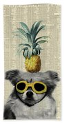 Dog With Goggles And Pineapple Beach Towel