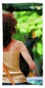 Dog Woman Walk Nyc Paint  Beach Towel