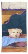 Doggy In The Guitar Case Beach Towel