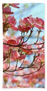 Dogwood Tree Landscape Pink Dogwood Flowers Art Beach Towel