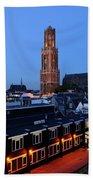 Dom Tower In Utrecht At Dusk 24 Beach Towel