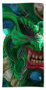 Dominican Republic Carnival Parade Green Devil Mask Beach Towel
