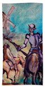 Don Quixote With Windmill Beach Towel