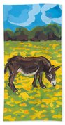 Donkey And Buttercup Field Beach Towel