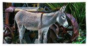 Donkey And Old Tractor Beach Towel