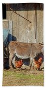 Donkey Goat And Chickens Beach Towel
