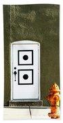 Door And Orange Hydrant  Beach Towel