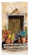 Door With Flower Pots Beach Towel