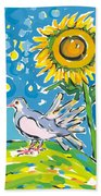Dove And Sunflower Beach Towel
