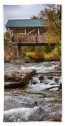 Down The Road To Greenbanks's Hollow Covered Bridge Beach Towel