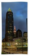 Downtown Cleveland At Dusk Beach Towel
