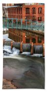 Downtown Greenville On The River Winter Beach Towel