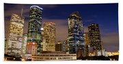 Downtown Houston At Night Beach Sheet