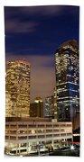 Downtown Houston At Night Beach Towel