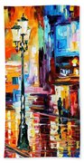 Downtown Lights - Palette Knife Oil Painting On Canvas By Leonid Afremov Beach Towel